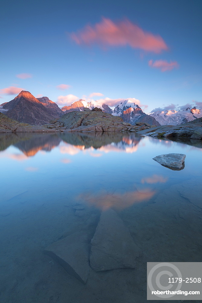 Pink clouds at sunset on Piz Bernina, Fuorcla Surlej, Corvatsch, Engadine, Canton of Graubunden, Swiss Alps, Switzerland, Europe