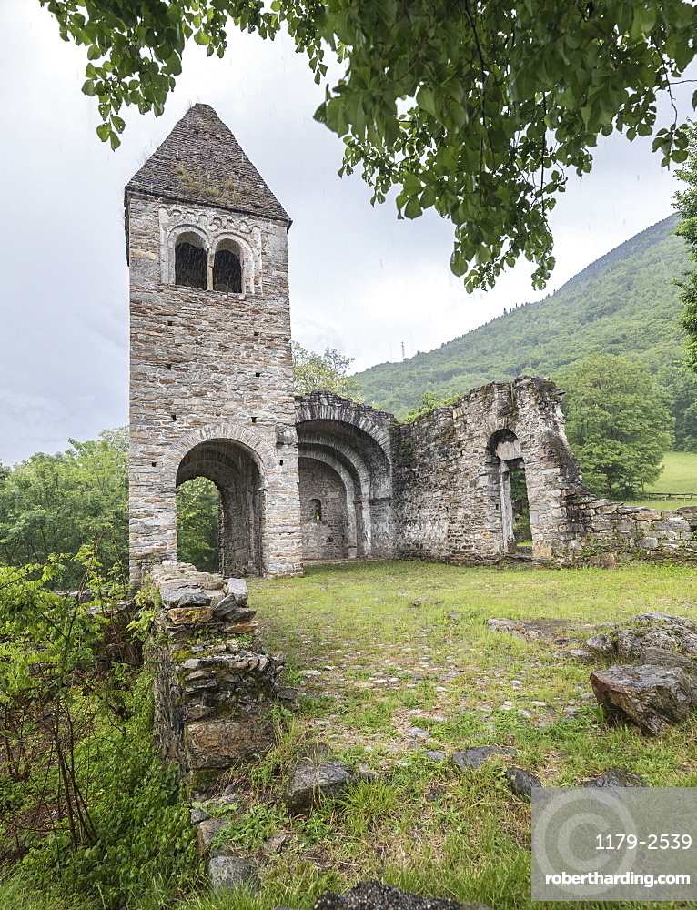 The medieval Abbey of San Pietro in Vallate, Piagno, Sondrio province, Lower Valtellina, Lombardy, Italy, Europe