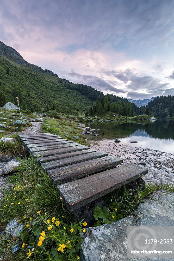 Wood walkway on the shore of Lake Cavloc, Maloja Pass, Bregaglia Valley, Engadine, Canton of Graubunden, Switzerland, Europe