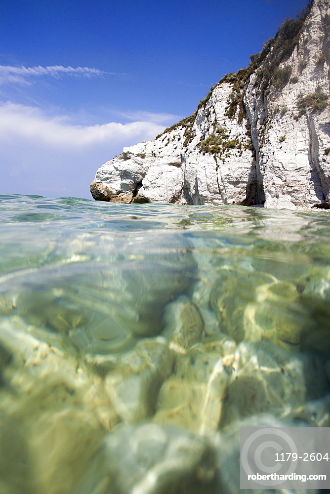 Turquoise sea, Capo Bianco beach, Portoferraio, Elba Island, Livorno Province, Tuscany, Italy, Europe