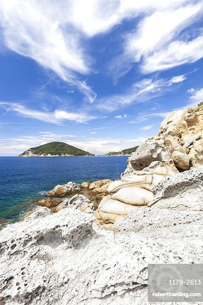White cliffs, Gulf of Procchio, Marciana, Elba Island, Livorno Province, Tuscany, Italy, Europe