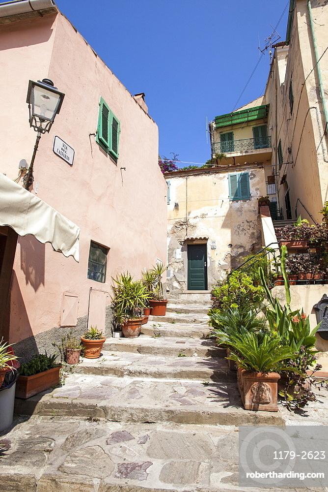 Ancient alley, Porto Azzurro, Elba Island, Livorno Province, Tuscany, Italy, Europe