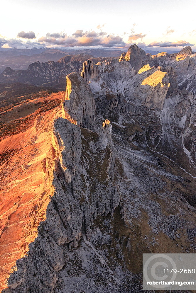 Aerial view of the rocky peaks of Roda Di Vael at sunset, Catinaccio Group (Rosengarten), Dolomites, South Tyrol, Italy, Europe