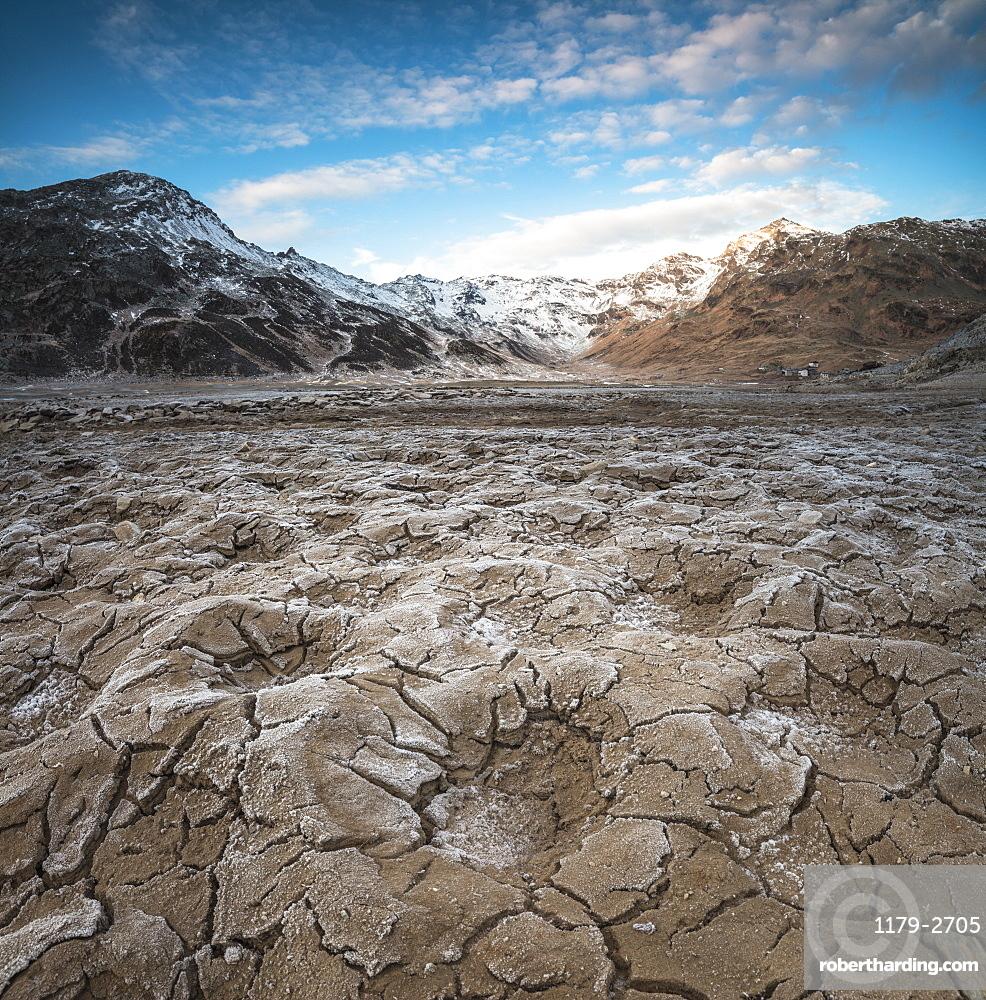 Panoramic of frozen soil of Montespluga, Chiavenna Valley, Sondrio province, Valtellina, Lombardy, Italy