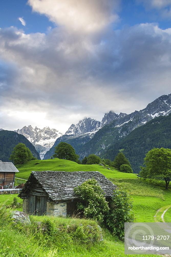 The alpine village of Soglio at dawn, Bregaglia Valley, Maloja Region, Canton of Graubunden (Grisons), Switzerland, Europe