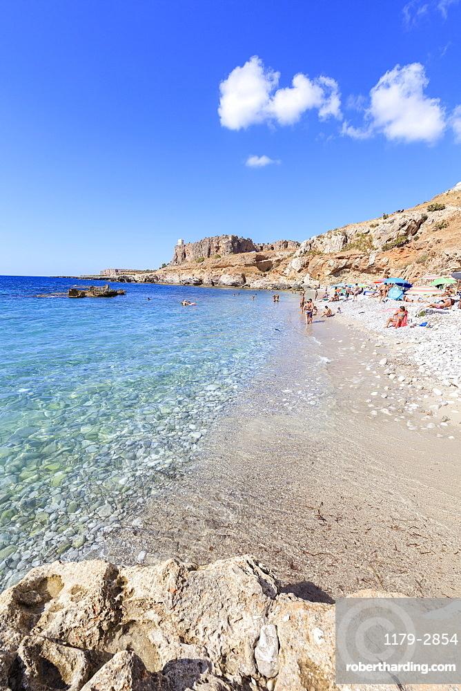 Beach of Bue Marino, San Vito Lo Capo, province of Trapani, Sicily, Italy, Mediterranean, Europe