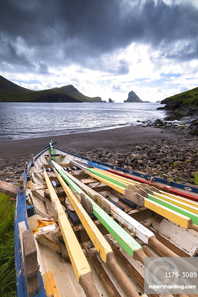 Abandoned boat on the beach, Bour, Vagar Island, Faroe Islands, Denmark, Europe