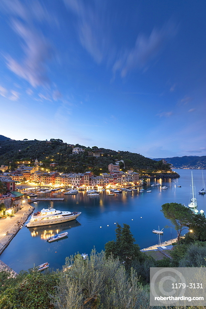 Elevated view of harbor and village of Portofino at dusk, province of Genoa, Liguria, Italy, Europe