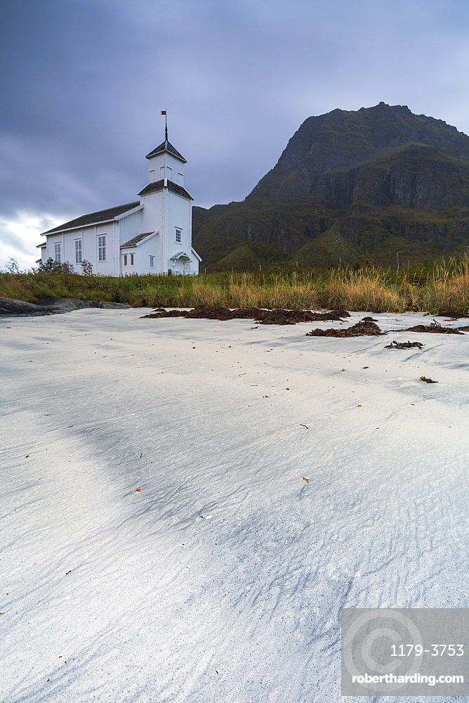 Church by beach on Gimsoya, Lofoten Islands, Norway, Europe