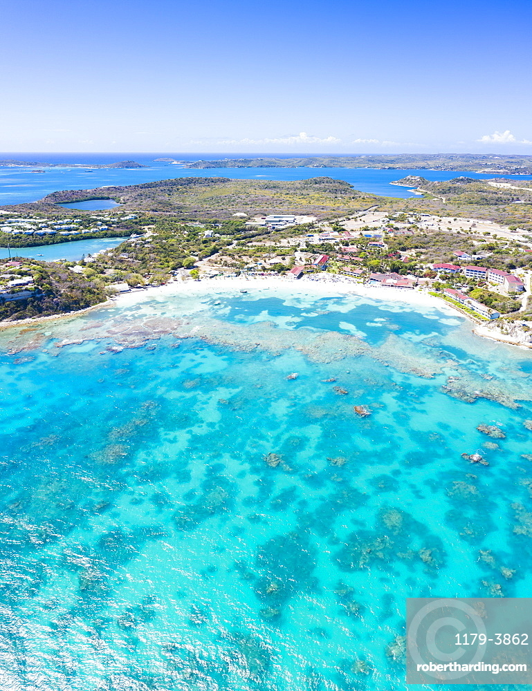 Aerial panoramic of white sand beach and coral reef, Long Bay, Antigua and Barbuda,, Leeward Islands, West Indies, Caribbean, Central America