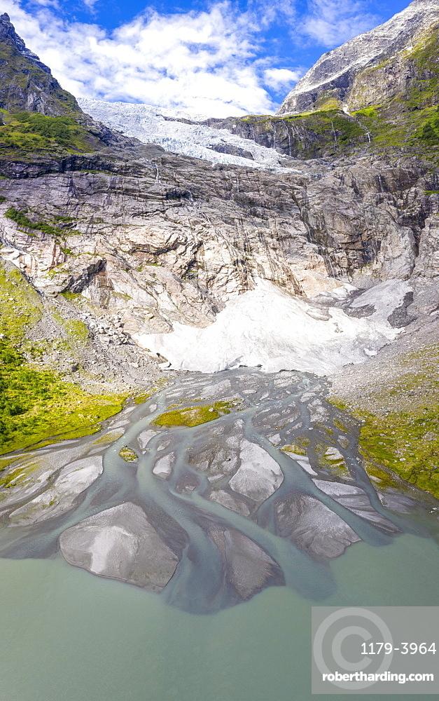 Aerial of Boyabreen Glacier in summer, Jostedalsbreen National Park, Fjaerland, Sogndal, Sogn og Fjordane county, Norway (drone)