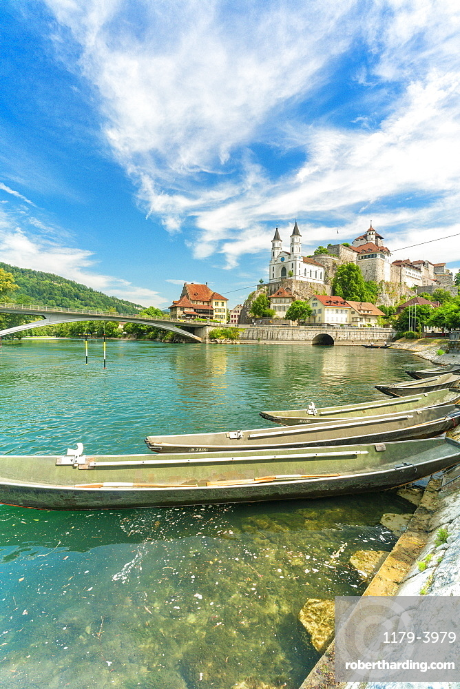 Boats moored in Aare river with Aarburg Castle in background, Canton??? ???Aargau, Switzerland