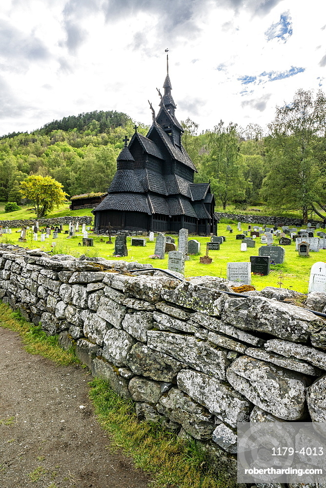 Surrounding stone walls of Borgund Stave Church and cemetery, Laerdal municipality, Sogn og Fjordane county, Norway