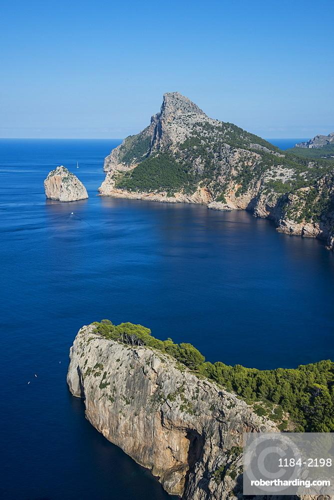 Beautiful outlook over the cliffs of Cap Formentor, Mallorca, Balearic islansd, Spain
