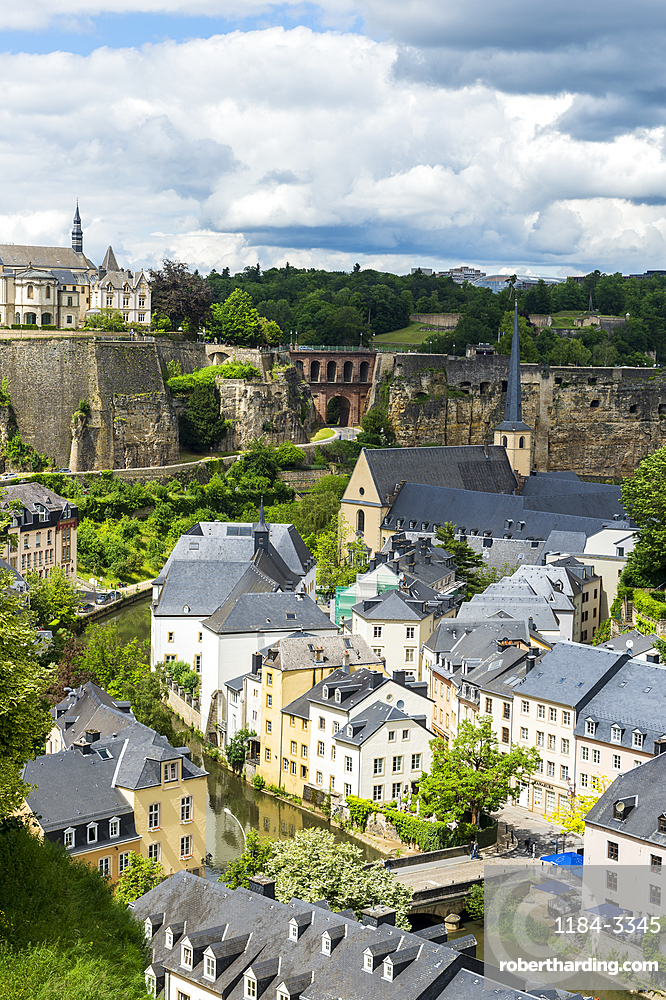 View over the old quarter of Luxembourg, UNESCO World Heritage Site, Luxembourg, Europe