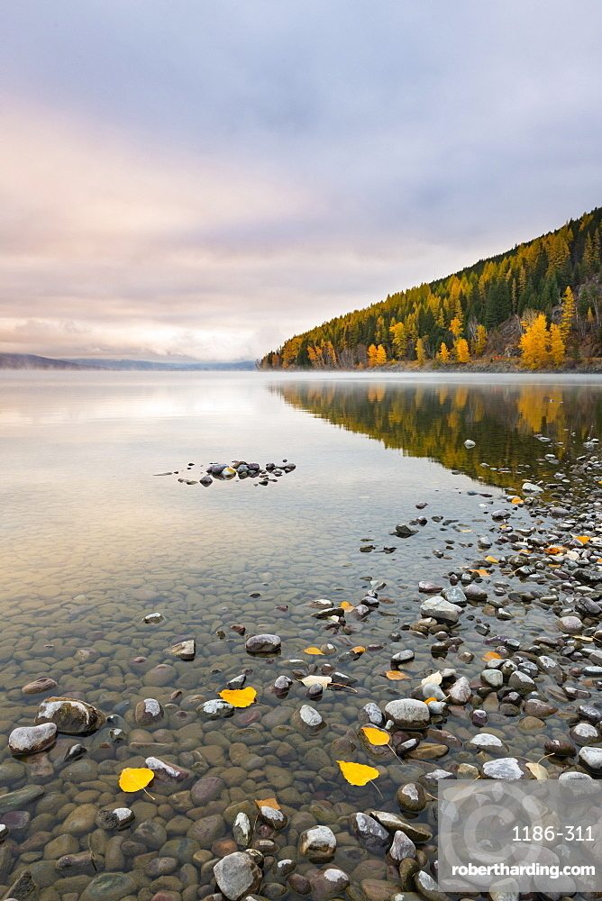 Sunrise on the shore of Lake McDonald Glacier National Park, Montana, USA