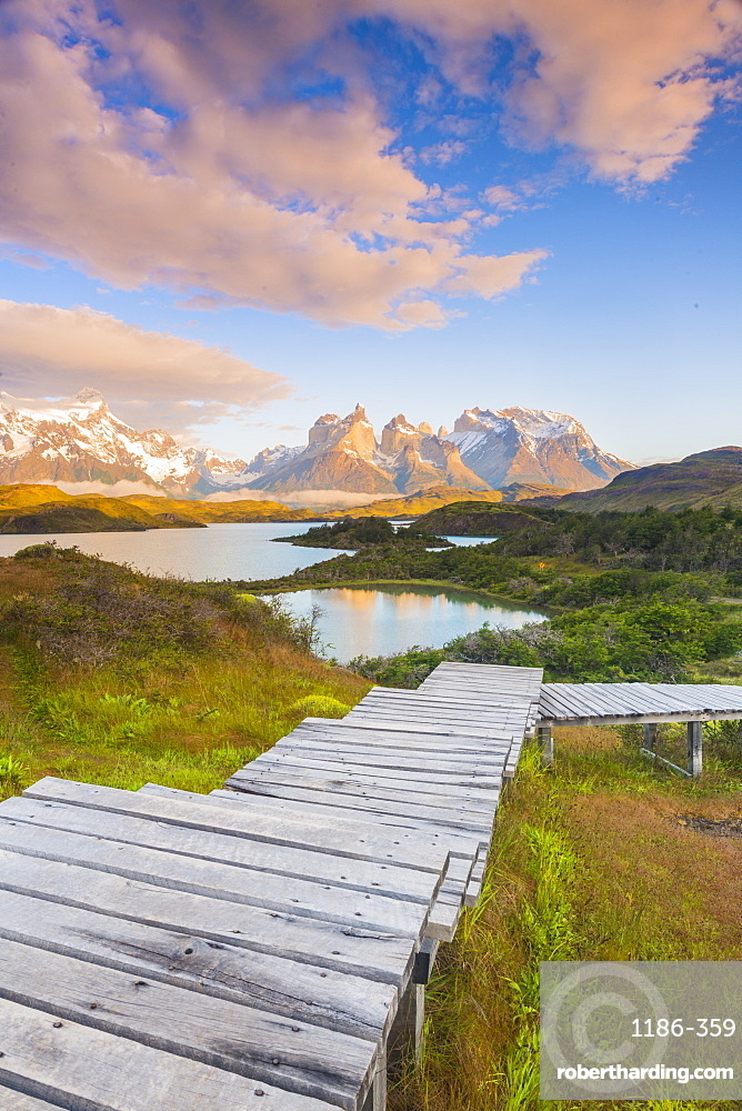 Boardwalks at lake Pehoe Torres Del Paine National Park, Patagonia, Chile, South America