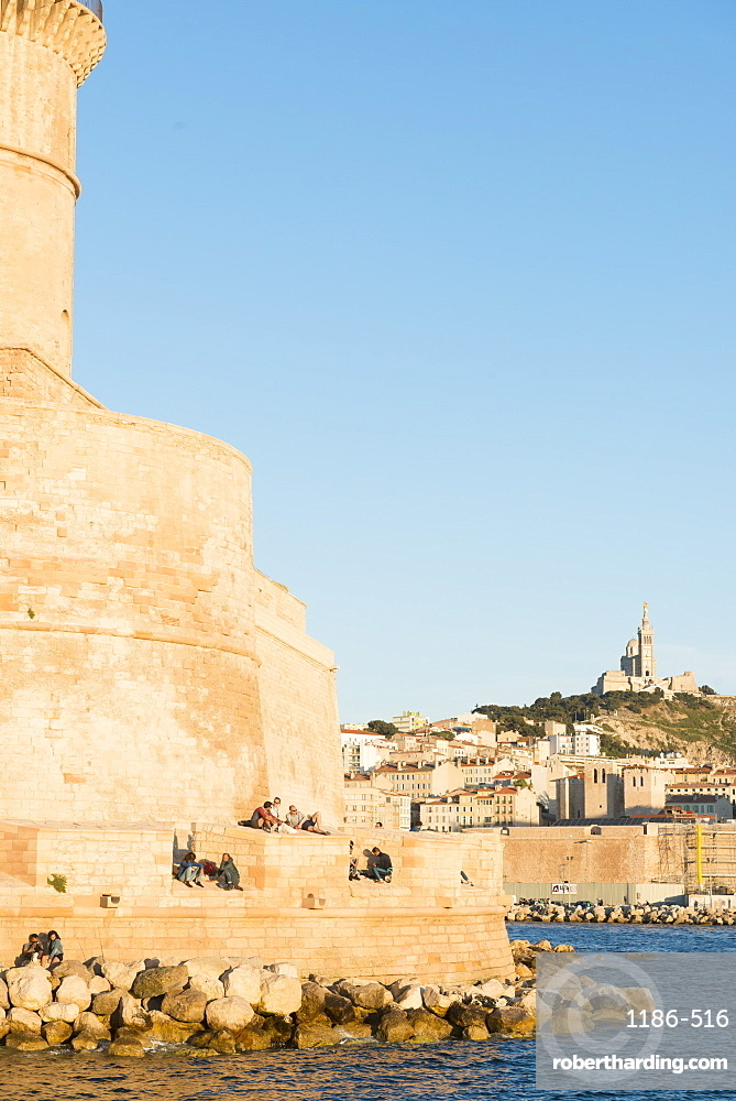 Fort Saint Jean and notre dame Marseille, Bouches du Rhone, France