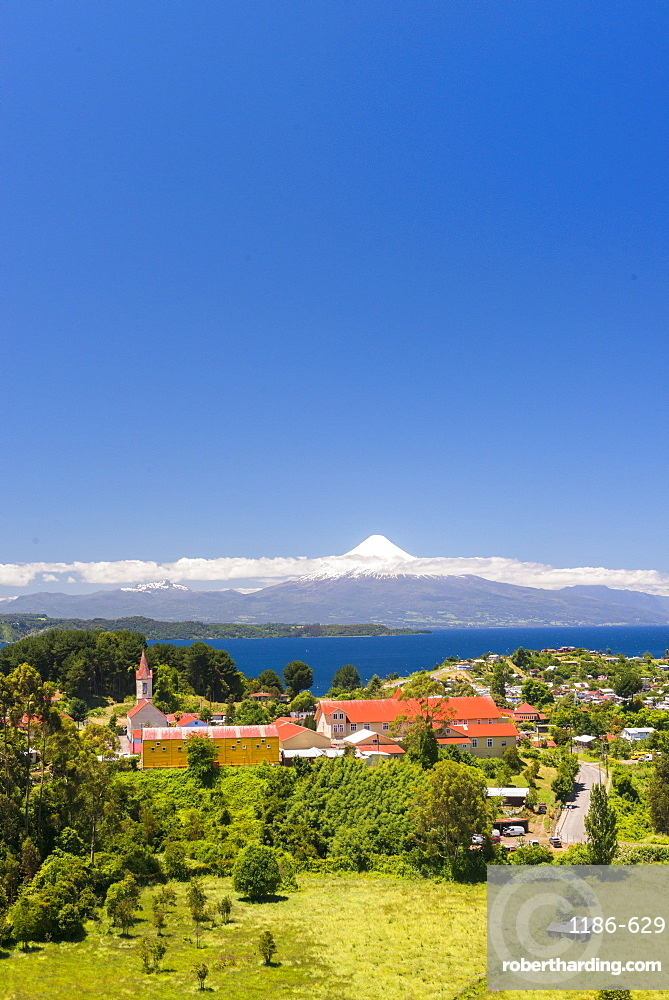 View over the church to lake Llanquihue and Volcan Osorno, Puerto Varas, Chilean Lake District, Los Lagos, Chile