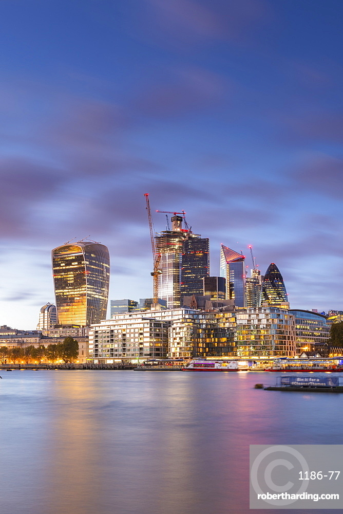 The City from the south bank of the River Thames, London, England, United Kingdom, Europe