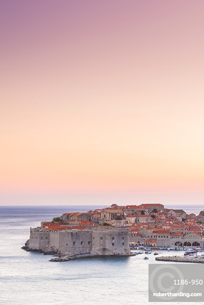 Dusk over the old town Dubrovnik, Croatia