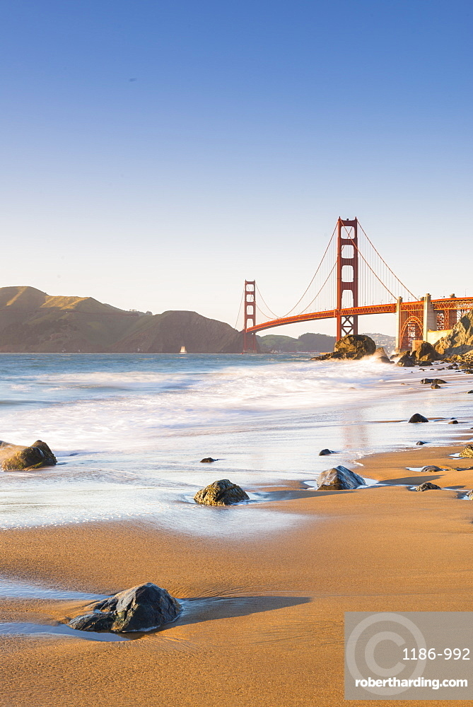 Golden Gate Bridge from Marshall's Beach, San Francisco, California, United States of America, North America