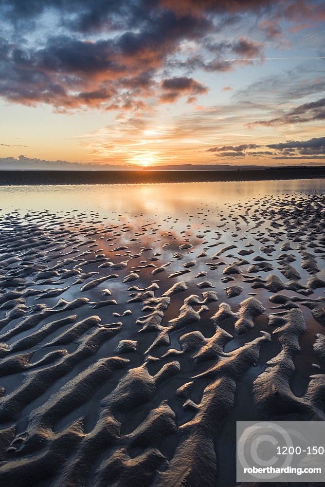 Sunset, Camber Sands, East Sussex, England.