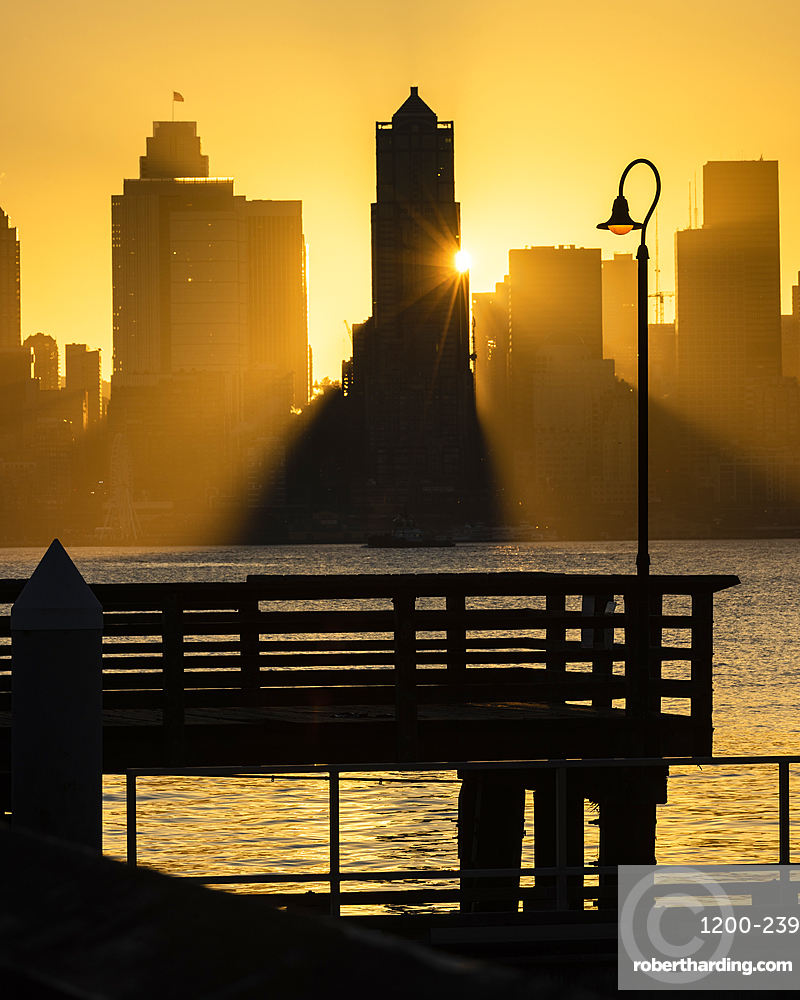 Seattle skyline at sunrise, as seen from Alki Beach, Seattle, Washington State, United States of America, North America