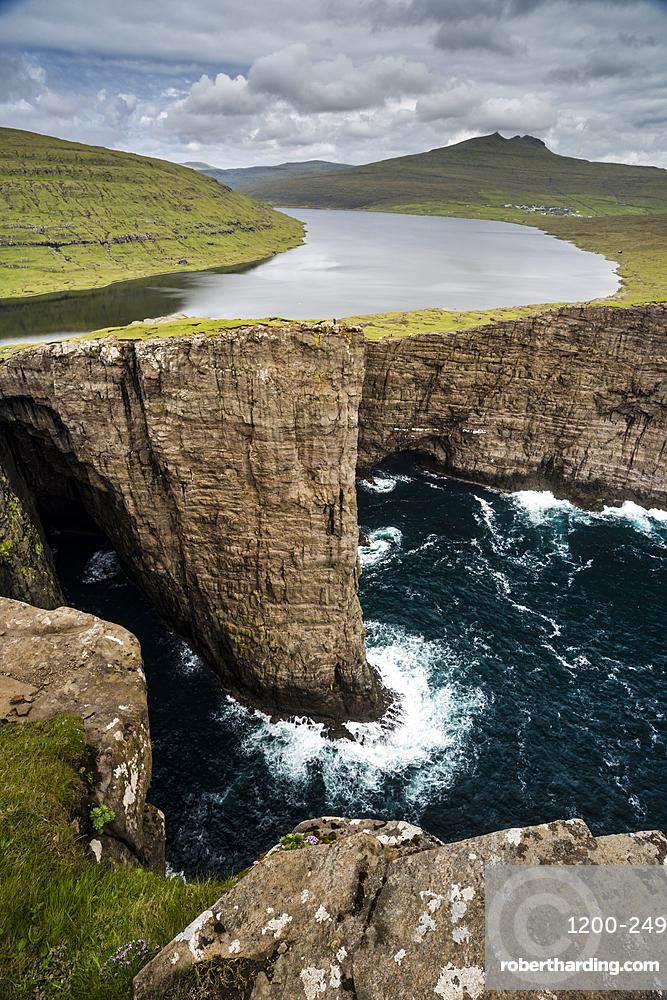 Traelanipa cliffs and Sorvagsvatn Lake, Vagar Island, Faroe Islands.