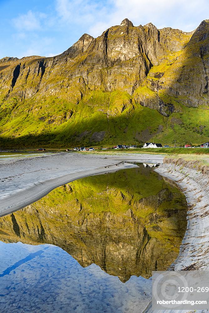 Mountain reflection, Ersfjord, Senja, Norway.