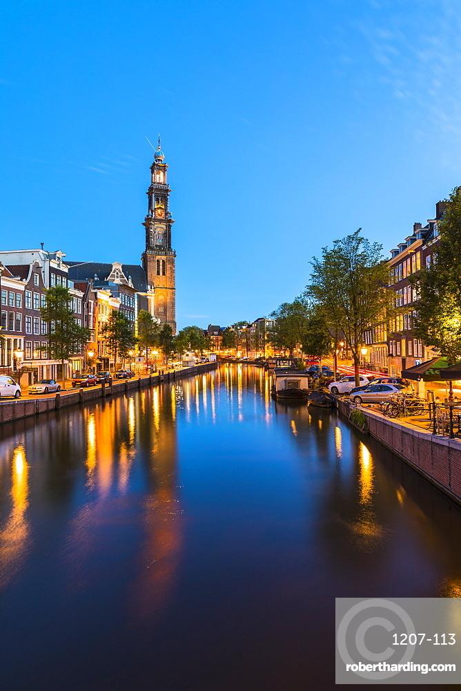 Prinsengracht Canal and Westerkerk, Amsterdam, Netherlands, Europe