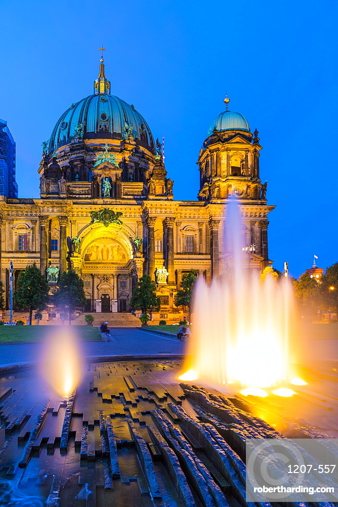 Fountain by Berlin Cathedral at night in Berlin, Germany, Europe