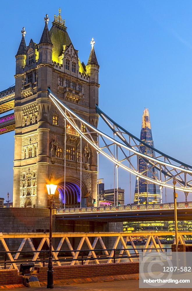 Tower Bridge at sunset in London, England, Europe