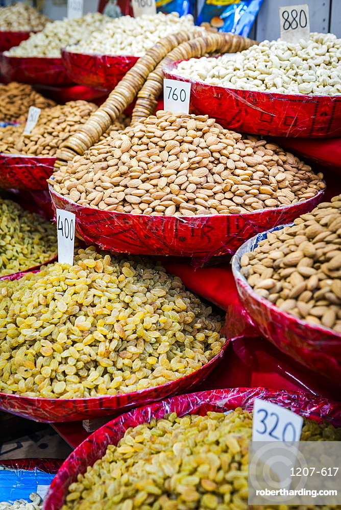 Close up of nuts and raisens for sale in New Delhi, India, Asia