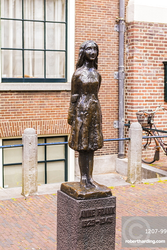 Statue of Anne Frank outside Westerkerk, Amsterdam, Netherlands, Europe