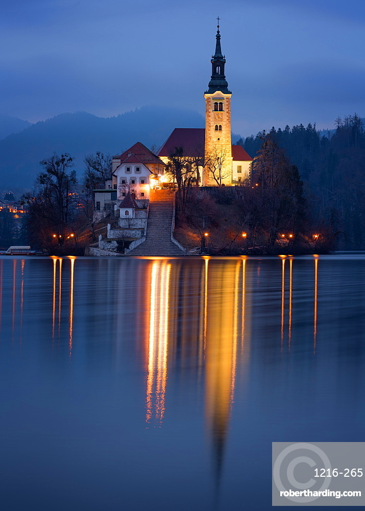 The Church of the Assumption at night, Lake Bled, Slovenia, Europe