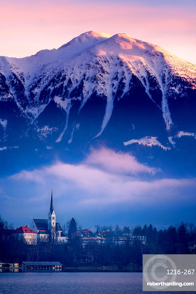 The Church of St. Martin at sunrise, Lake Bled, Slovenia, Europe