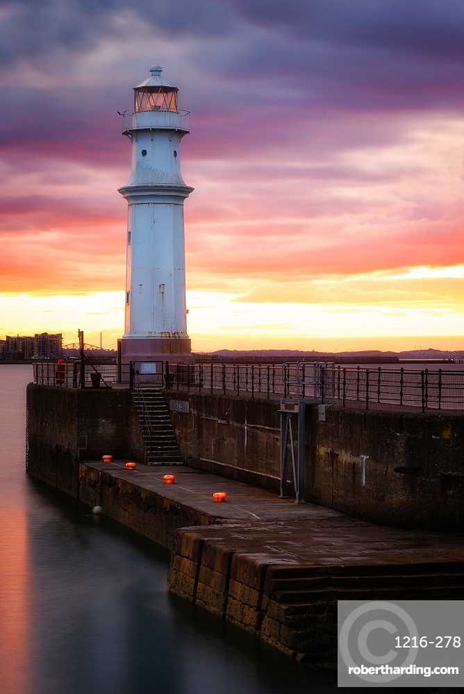 Newhaven Harbour at sunset, Edinburgh, Scotland, United Kingdom, Europe