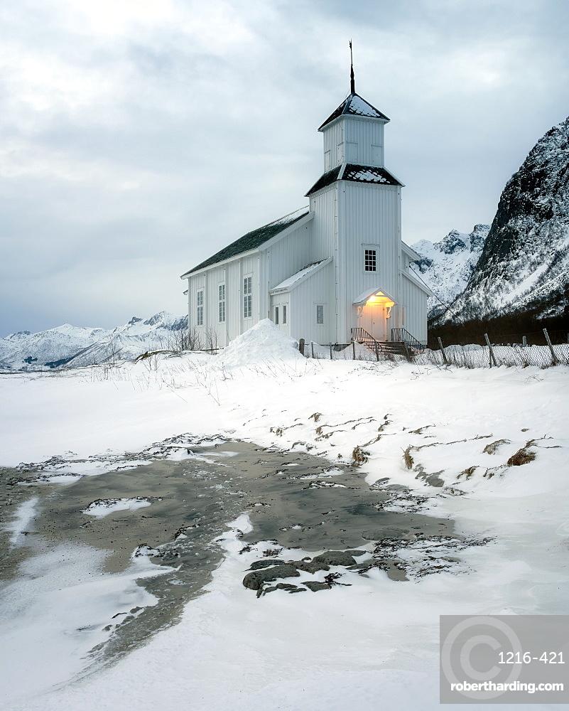 Gimsoy Church in the snow, Gimsoy, Lofoten Islands, Nordland, Norway, Europe
