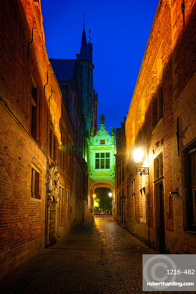 The gold trimmed tunnel/walkway leading to the Palace of the Liberty in Bruges (Brugge), Belgium, Europe