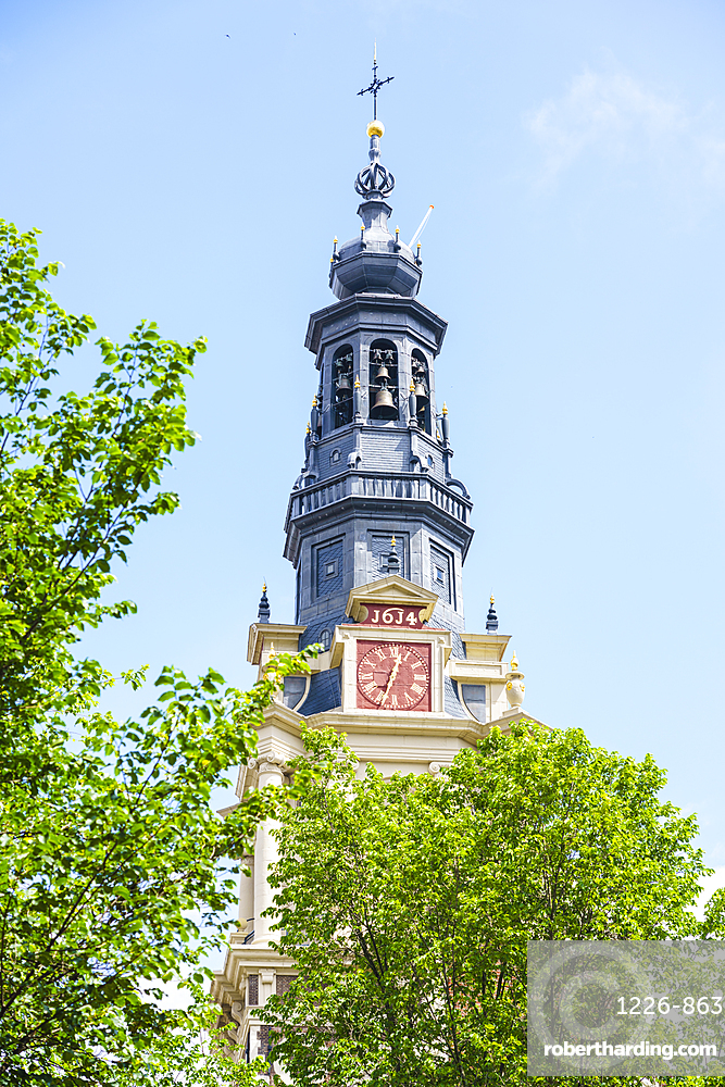 Zuiderkerk church tower, restored church built in 1611, Amsterdam, North Holland, The Netherlands, Europe