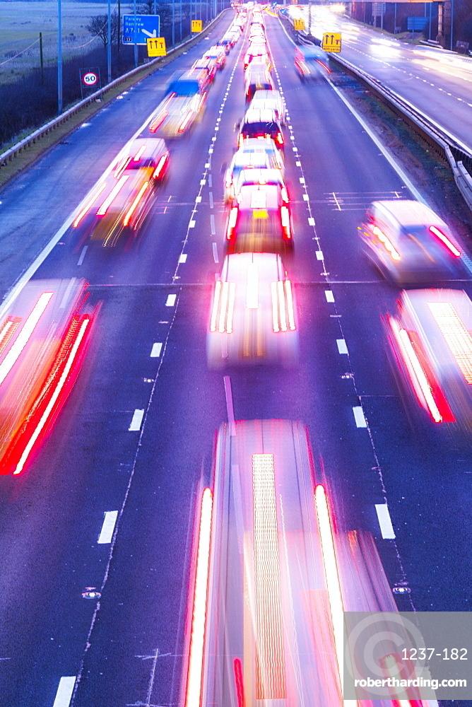 M8 Traffic trail lights and roadworks, Glasgow, Scotland, United Kingdom, Europe