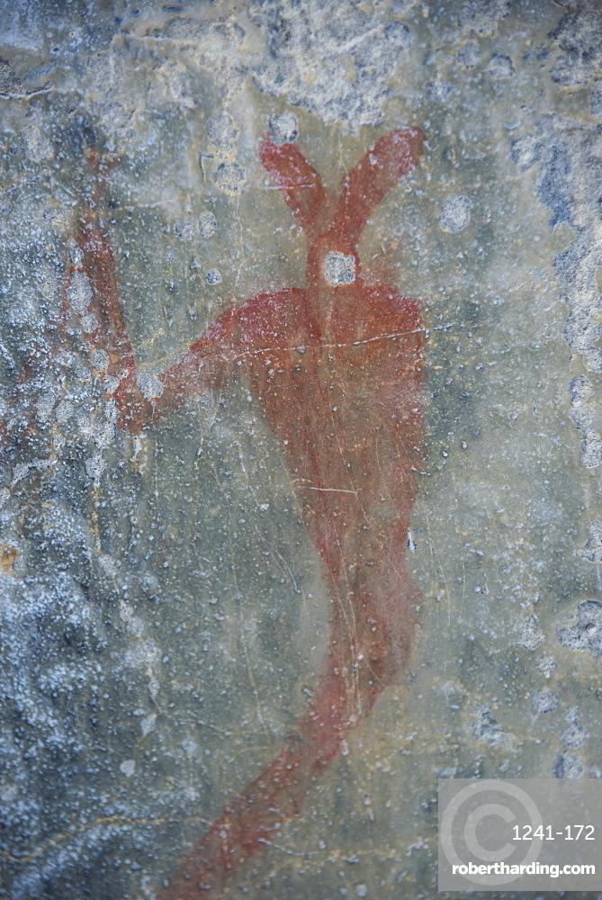 Ancient native pictographs on a canyon wall, Grotto Canyon, Alberta, Canadian Rockies, Canada, North America
