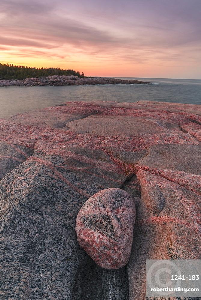 Rocky coastline at sunset, Lackies Head and Green Cove, Cape Breton National Park, Nova Scotia, Canada, North America