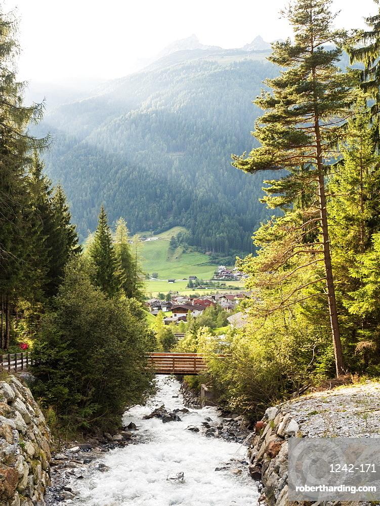 Mountain river in the Alps of the Stubai Valley (Stubaital), Tyrol, Austria, Europe