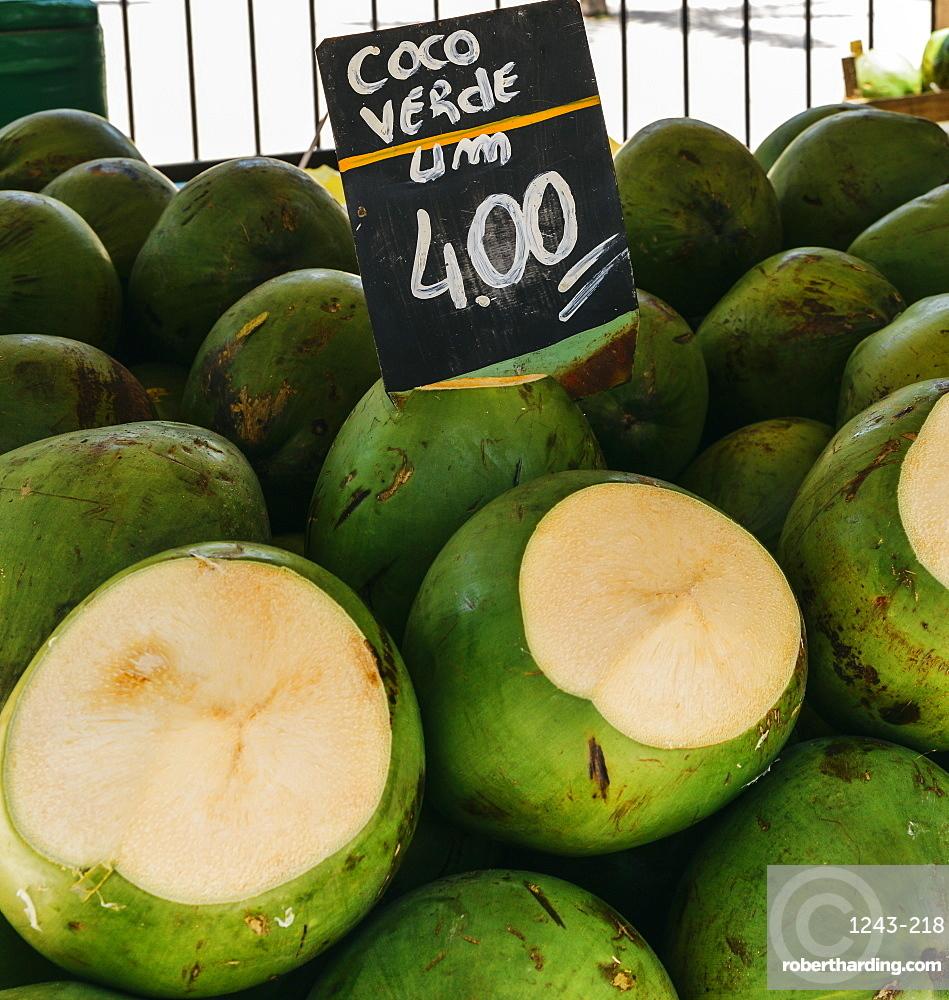 Ripe coconuts for sale in a street market in Rio de Janeiro, Brazil, South America