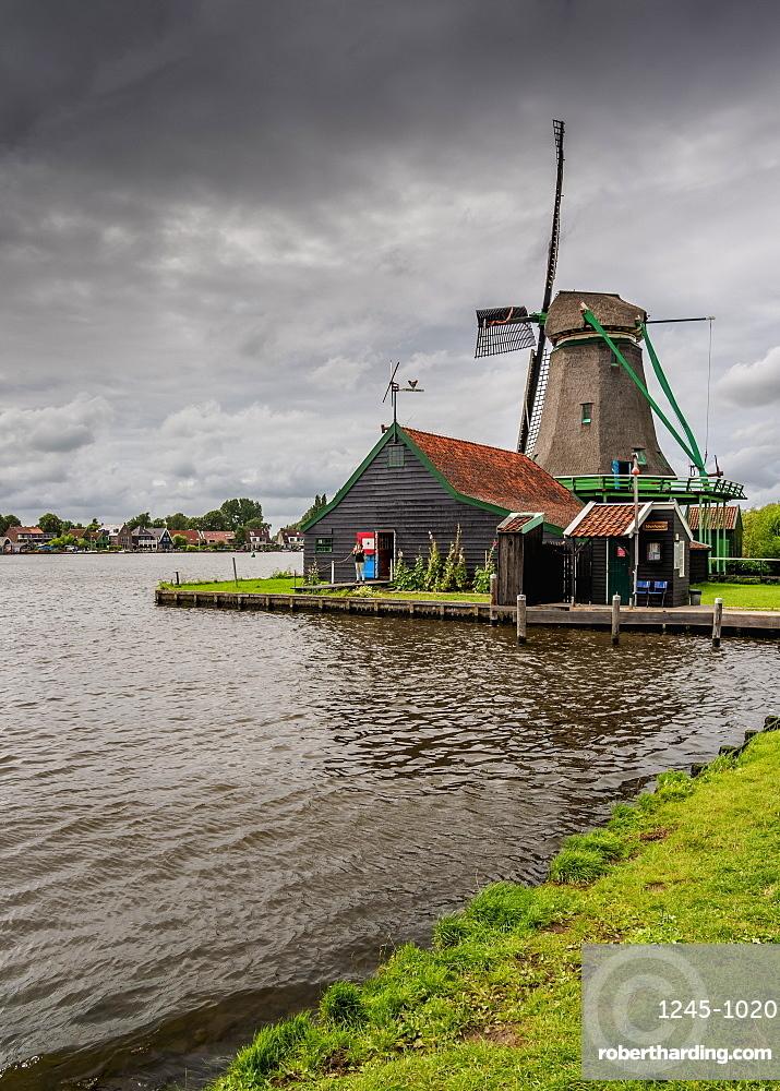Windmill in Zaanse Schans, Zaandam, North Holland, The Netherlands, Europe