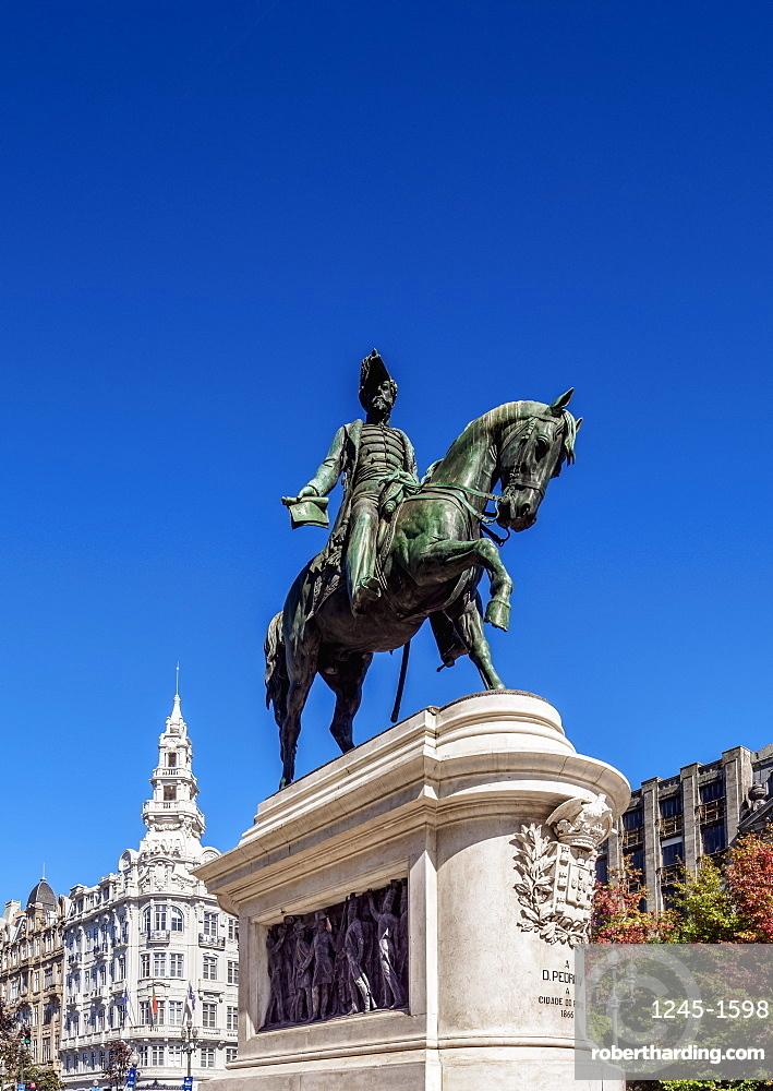 Dom Pedro IV Statue, Praca da Liberdade, Porto, Portugal, Europe