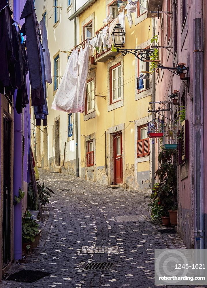 Narrow Lane of Alfama, Lisbon, Portugal, Europe