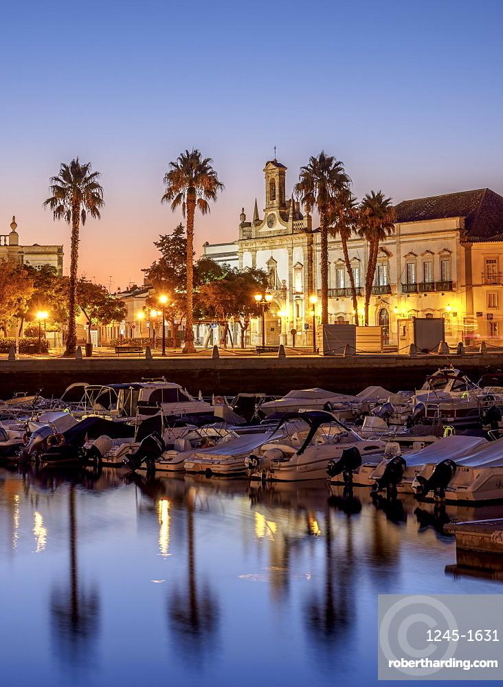 View over Marina towards Arco da Vila at dawn, Faro, Algarve, Portugal, Europe